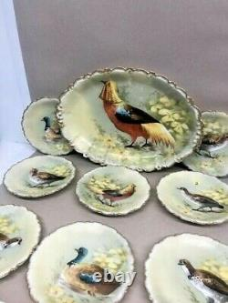 Limoges Coronet Hand Painted Games Service Set Platter and 8 plates Signed