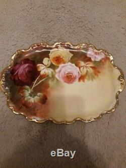 Limoges Coronet Large Roses Vanity Trinket Tray Dish Plate Platter Hand Painted