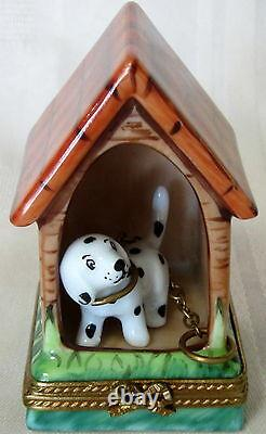 Limoges Dog In Doghouse Hand Painted France Bnib Porcelain Hinged F/s