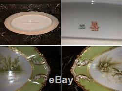 Limoges Elite Set Hand Painted Fish. Platter, Ten Plates, Gravy Boat