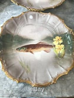 Limoges Fish Plates, Hand Painted. (6)
