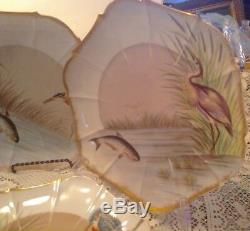 Limoges France 5+2 Heptagon Shape Plates Fish & Birds Hand Painted Estate Fin