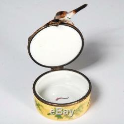 Limoges France Chamart Handpainted Woodcock Long Beaked Bird Trinket Box