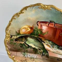 Limoges France Charger/Plaque Handpainted/Artist Signed Dumas 13 1/8 Fish