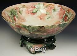 Limoges France Hand Painted Grapes 16 Punch Bowl With Base