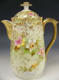 Limoges France Hand Painted Orchids Chocolate Pot Raised Gold