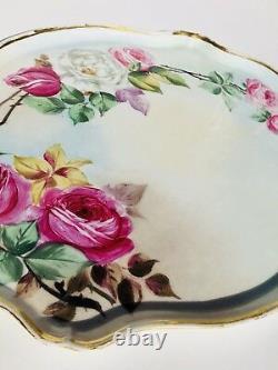 Limoges France Hand Painted Roses 16 Porcelain Large Tray Antique Vanity Gold