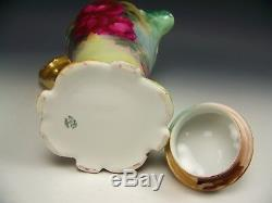 Limoges France Hand Painted Roses Chocolate Pot Gold Handle