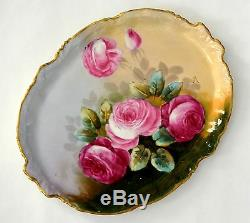 Limoges France Hand Painted Roses Tray Plate
