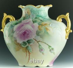 Limoges France Hand Painted Roses Vase