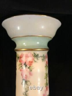 Limoges France Hand Painted Tall Candlesticks