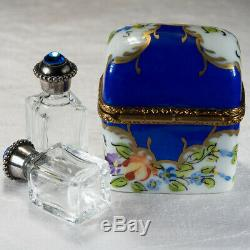Limoges France Hand Painted Trinket Box Jeweled Perfume Bottles Signed