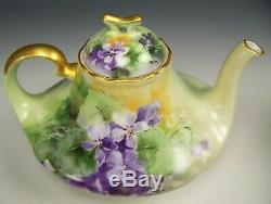 Limoges France Hand Painted Violets Tea Pot