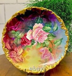 Limoges, France Handpainted Charger large Plate Roses Gold Signed Sarlengeas