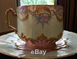 Limoges France Handpainted & Jeweled Cup & Saucer c. 1885-1900