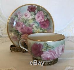 Limoges France Haviland hand-painted roses cup and saucer set