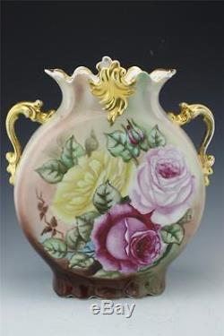 Limoges France Jean Pouyat Roses Scenic Hand Painted Pillow Vase