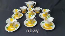 Limoges France Kaffeeservice Gelbe Blumen Handgemalt Hand Painted Rar Vintage