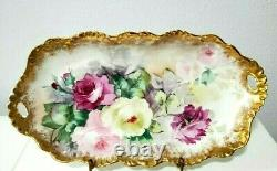 Limoges France Large 16 Oval Platter hand painted with roses