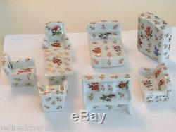 Limoges France Miniature Dollhouse Furniture Doll Set 8 Sofa Bed Chair Piano