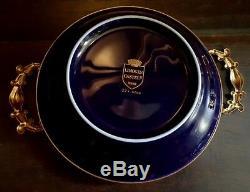 Limoges France Ormolu Gilt Hand Painted Dish Tray Trinket Brass Trim
