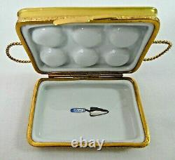 Limoges France Peint Main Gold Cupcake Tin / Tray Box With Removable Cupcakes