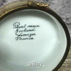 Limoges France Peint Main Rochard Hand Painted Hat Box with Hat Trinket Box Open