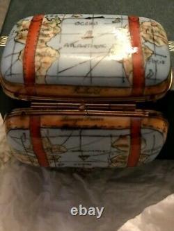 Limoges France Porcelain Suitcase World Map Trinket Box Rochard Hand Painted