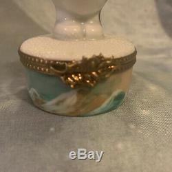 Limoges France Trinket Box- RARE Snowman HAND PAINTED AND SIGNED