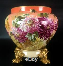 Limoges France porcelain hand-painted mums jardiniere on separate base 1894-1900