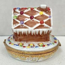 Limoges Gingerbread House Peint Main France Artoria Box Hand Painted Retail $275