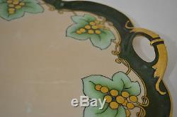 Limoges Guerin Hand Painted Arts & Crafts Signed Tray With Six Sherbet Cups