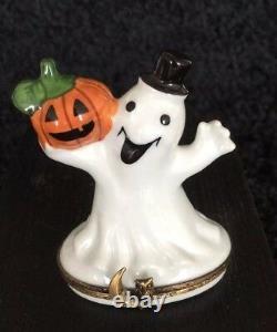 Limoges Halloween Happy Ghost & Pumpkin Trinket Box Hand-Painted Porcelain
