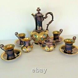 Limoges Hand Painted Chocolate Pot 4 Cup/4 Saucer Creamer/Sugar Bowl Set