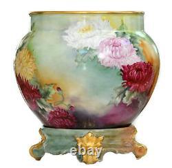 Limoges Hand Painted Chrysanthemums Jardiniere Vase On Matching Plinth/base