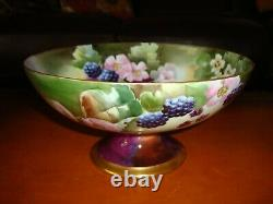 Limoges Hand Painted Darcy's Studio Signed Dubois Footed Bowl, Blackberries, 10