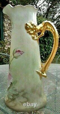 Limoges Hand-Painted Dragon-Handled Tankard c. 1900