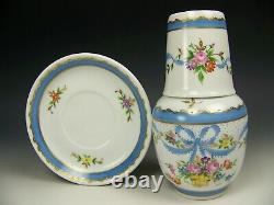 Limoges Hand Painted Floral Ribbons 3 Piece Tumble-up French Bedside Carafe Set