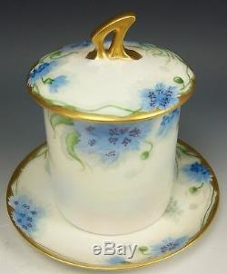 Limoges Hand Painted Flower Condensed Milk Container & Underplate