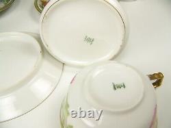 Limoges Hand Painted Flower Gold Gilt Tea Pot Creamer Sugar Cups Saucers Set
