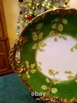 Limoges Hand Painted Holly Berry Plate Charger
