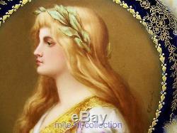 Limoges Hand Painted Lady Portrait & Raised Gold Cabinet Plate Artist E. Furlaud