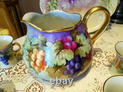 Limoges Hand Painted Large Grape Pitcher /4 Cup Set