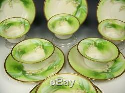 Limoges Hand Painted Lilies Of The Valley Ramekins Saucers Set Of 6 Signed Jean