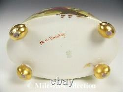 Limoges Hand Painted Mums Gold Gild 12.25 Cachepot Vase