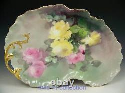 Limoges Hand Painted Peach Roses Kidney Shaped Dresser Tray Signed Ida Ferris