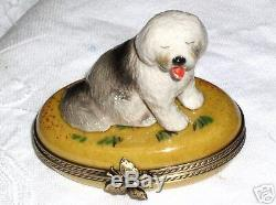 Limoges Hand Painted Porcelain Bearded Collie Dog Lying on Oval Trinket Box