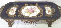 Limoges Hand Painted Porcelain Tray Bronze Mounted Gargoyles & Childs 54 Cm 21¼