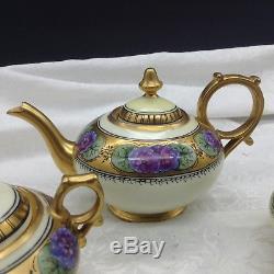 Limoges Hand Painted Purple Flowers Gold Tea Set Teapot Sugar Creamer Donath Lot