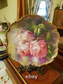 Limoges Hand Painted Reflecting Waters Rose Wall Plaque Plate, Artist Signed
